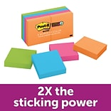 Post-it® Super Sticky Notes, 2 x 2 Rio De Janeiro Collection, 90 Sheets/Pad, 8 Pads/Pack (622-8SSA