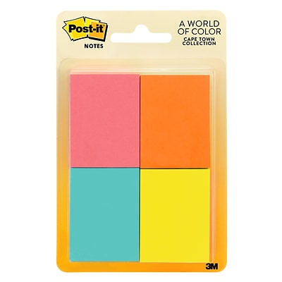 Post-it® Notes, 1 1/2 x 2, Cape Town Collection, 50 Sheets/Pad, 8 Pads/Pack (653-8AF)