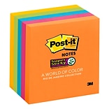 Post-it® Super Sticky Notes, 3 x 3, Rio de Janeiro Collection, 90 Sheets/Pad, 5 Pads/Pack (654-5SS