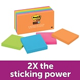 Post-it® Super Sticky Notes, 3 x 3, Rio de Janeiro Collection, 90 Sheets/Pad, 12 Pads/Pack (654-12