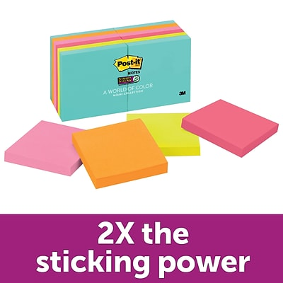 Post-it® Super Sticky Notes, 3 x 3, Miami Collection, 90 Sheets/Pad, 12 Pads/Pack (654-12SSMIA)