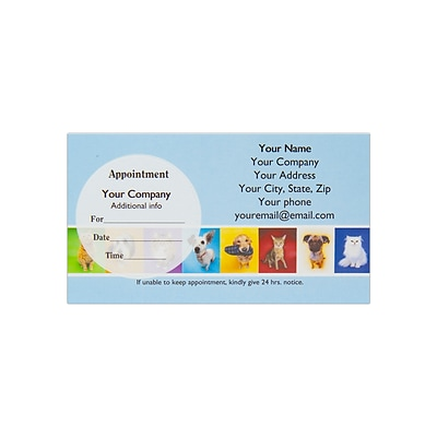 Custom Full Color Sticker Appt. Cards, Left Circle Sticker, Flat Print, Horizontal, 1-Sided