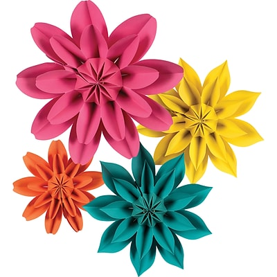 Teacher Created Resources Beautiful Brights Paper Flowers, Pack of 4 (TCR8545)