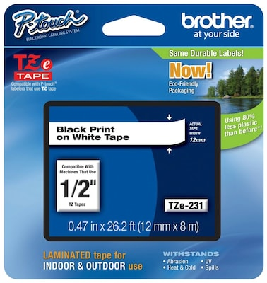 """6PK Black on White TZ-231 TZe231 Label Tape for Brother P-touch PT-310 1//2/"""" 12mm"""