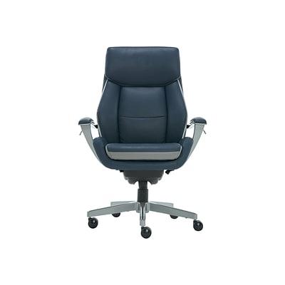 La Z Boy Alton Leather Executive Chair Steel Blue Light Gray 60029 Quill Com
