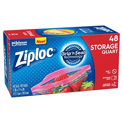 Ziploc Storage Bags, Quart, 48/Box (314469)