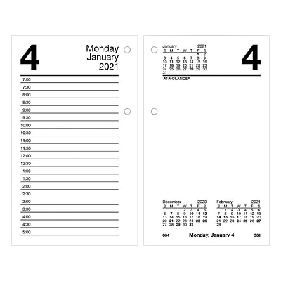 2021 AT-A-GLANCE 6 x 3.5 Desk Calendar Refill, Recycled, White (E717R-50-21)