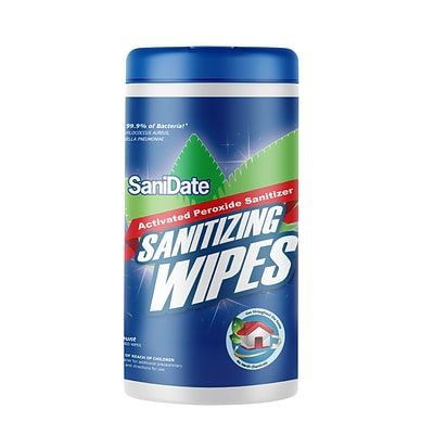 Sanidate Sanitizing Wipe, 125 Wipes per Canister, 6/Carton (2015-125CT)