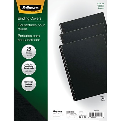 Fellowes Futura Presentation Covers, 8.5W x 11H, Black, 25 Pack (5224901)