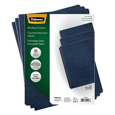 Fellows Binding Covers, 11-1/4 x 8-3/4, Classic Navy, 200/Pack (52136)