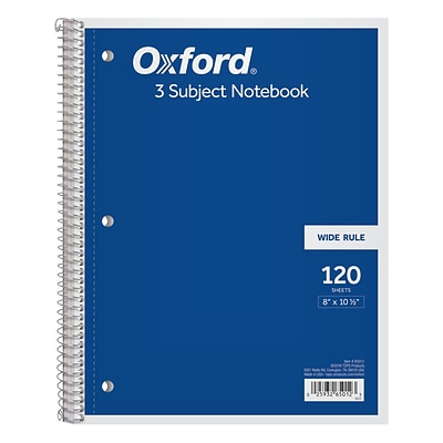 Oxford 3-Subject Notebook, 8 x 10 1/2, Wide Ruled, 120 Sheets, Assorted Colors (65012)