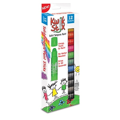 Kwik Stix Solid Tempera Paint Stick, 12 Assorted Primary Colors Per Pack, 2 Packs (TPG602-2)