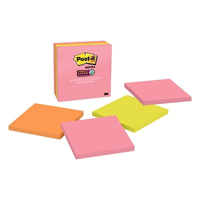 Post-it® Super Sticky Notes, 4 x 4, Miami Collection, 90 Sheets/Pad, 4 Pads/Pack (675-4SSUMIA)