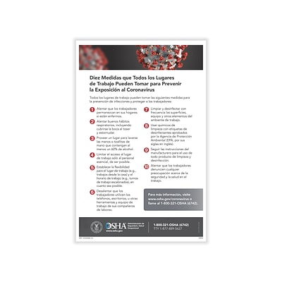 ComplyRight Reduce Risk of COVID-19 Exposure in Workplace Poster, Spanish (W0030)