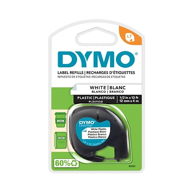 Dymo LetraTag 91331 Label Maker Tape, 1/2W, Black On White