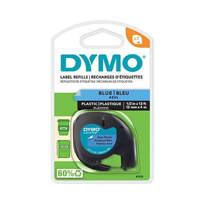 DYMO LT 91335 Label Maker Tape, 1W, Black on Blue