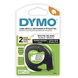 Dymo LetraTag 10697 Label Maker Tapes, 0.5W, Black On White, 2/Pack