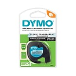 DYMO LetraTag 16952 Label Maker Tape, 0.5W, Black On Clear