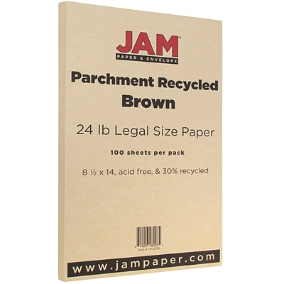 JAM Paper Legal Parchment 30% Recycled Paper, 24 lbs., 8.5 x 14, Brown, 500 Sheets/Ream (17132136B)