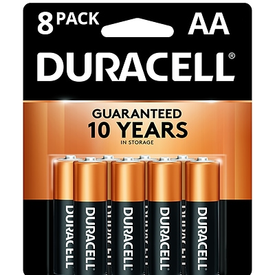 Duracell® Coppertop Alkaline Batteries, AA, 8/Pack (MN1500B8Z)