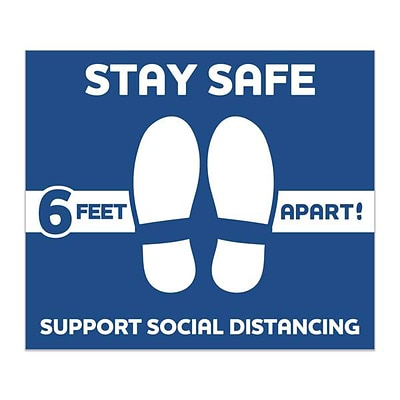 "Social Distancing, Vinyl Floor Decal, ""Stay Safe 6-Feet Apart, 12 x 14 Rectange, Blue, 6/Pack (60580)"