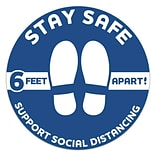 Social Distancing Vinyl Floor Decal, Stay Safe, 6-Feet Apart, 12 Round, Blue, 6/Pack (60582)