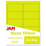 JAM Paper Laser/Inkjet Shipping Address Labels, 2 x 4, Neon Yellow, 10 Labels/Sheet, 12 Sheets/Pac