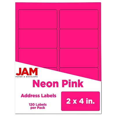 JAM Paper Laser/Inkjet Shipping Address Labels, 2 x 4, Neon Pink, 10 Labels/Sheet, 12 Sheets/Pack (354328023)