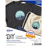 Avery Printable T-Shirt Transfers, For Use on Dark Fabrics, Inkjet Printers, 5 Paper Transfers (3279