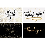 Better Office Thank You Cards with Envelopes, 4 x 6, Black/Gold, 100/Pack (64520)