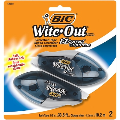 BIC Wite-Out EZ Grip Correction Tape, White, 2/Pack (WOECGP21)
