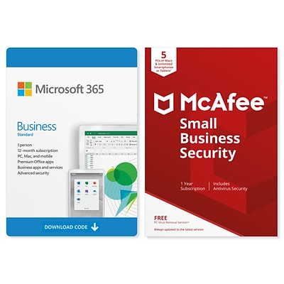 Microsoft 365 Business Standard McAfee Small Business Security Bundle for Windows/Mac (1 User) [Download]