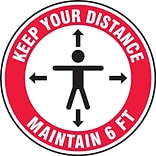 Accuform Slip-Gard™ Floor Decal, Keep Your Distance Maintain 6 FT, Vinyl, 12, Red (MFS345)
