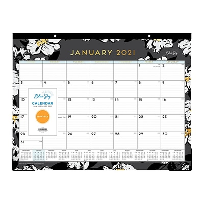 2021 Blue Sky 17 x 22 Desk Pad Calendar, Baccara Dark, Gray/White (110215-21)
