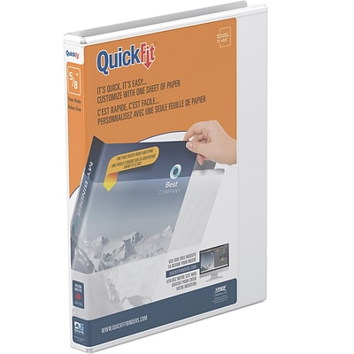 QuickFit 5/8 3-Ring View Binder, White (87000)