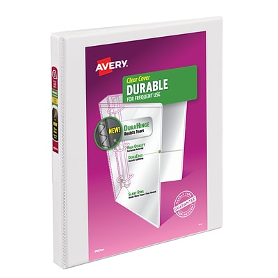 Avery Durable Standard 1/2 3-Ring View Binder, White (17002)