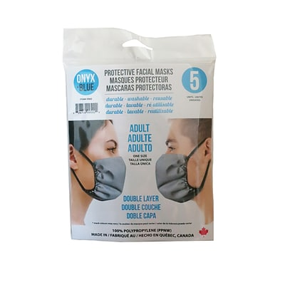 Onyx & Blue Reusable Cloth Face Masks for Adults, Polypropylene, 5 Masks/Pack (9502)