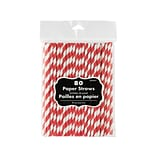 Amscan Striped Apple Red Paper Straws, 7.75, 80/Pack (400085.40)