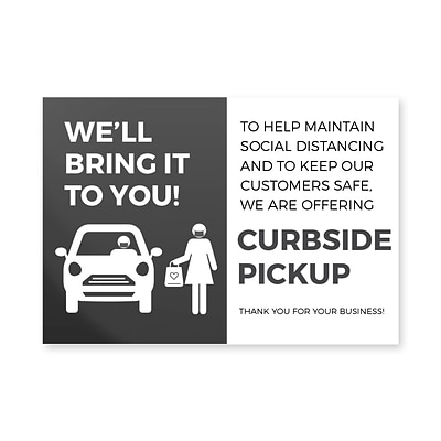 Deluxe Curbside Pick Up Window Cling,  6 x 4, Black, 25/Pack (CPCLING64)
