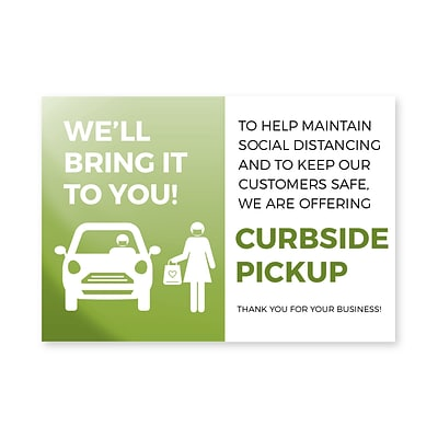 Deluxe Curbside Pick Up Window Cling,  6 x 4, Green, 25/Pack (CPCLING64)