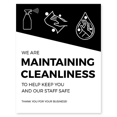 Deluxe Maintaining Cleanliness Window Cling,  8.5 x 11, Black, 25/Pack (MCCLING8511)