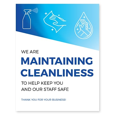Deluxe Maintaining Cleanliness Window Cling,  8.5 x 11, Blue, 25/Pack (MCCLING8511)