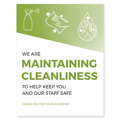 Deluxe Maintaining Cleanliness Window Cling,  6 x 4, Green, 25/Pack (MCCLING64)