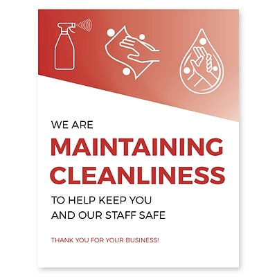 Deluxe Maintaining Cleanliness Poster, 11 x 17, Red, 6/Pack (MCPOST1117)