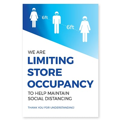 Deluxe Store Occupancy Window Cling,  8.5 x 11, Blue, 25/Pack (SOCLING8511)