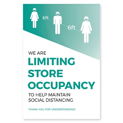 Deluxe Store Occupancy Window Cling,  8.5 x 11, Teal, 25/Pack (SOCLING8511)