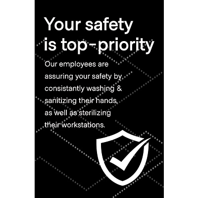 Deluxe Employee Safety Window Cling,  6 x 4, Black, 25/Pack (ESCLING64)