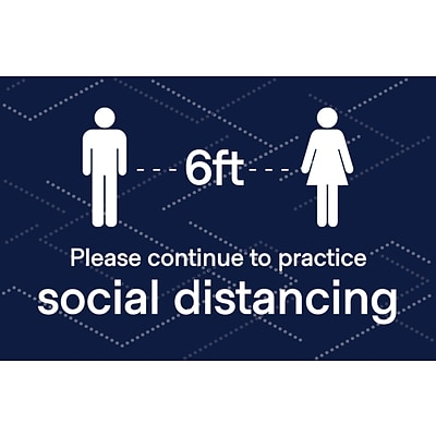 Deluxe Social Distancing  Window Cling,  8.5 x 11, Blue, 25/Pack (SDCLING8511)