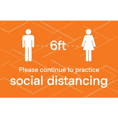 Deluxe Social Distancing  Window Cling,  8.5 x 11, Orange, 25/Pack (SDCLING8511)