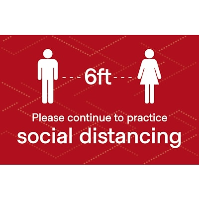 Deluxe Social Distancing  Poster, 11 x 17, Red, 6/Pack (SDPOST1117)